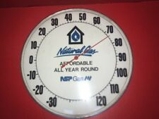 Vintage NSP Natural Gas Thermometer Metal And Glass Advertising Sign Works Pam ?