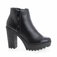 Asha11 Round Toe Zip Up Lug Sole High Heel Ankle Boots