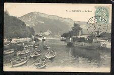 CPA 51 ANNECY Le Port Bâteaux Juliette Cyclamen  Montagne Lac Ed GARDET 1905