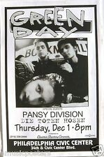 GREEN DAY /PANSY DIVISION 1994 PHILADELPHIA CONCERT TOUR POSTER -Punk Rock Music