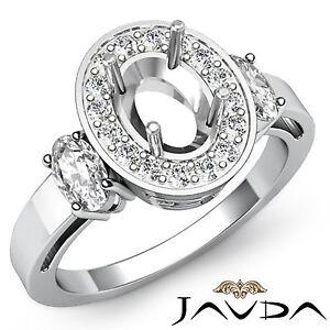 Three 3 Stone Diamond Engagement Filigree Ring Platinum 950 Oval Semi Mount 1ct