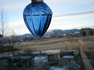 Cobalt Blue Glass HAWKEYE Lightning Rod Ball Pendant