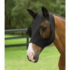 Horse Fly Mask Roma Stretch Lycra Bug Eye Saver with Ears Black English Western