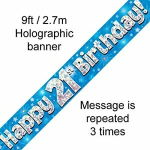 Birthday Banner Blue Party Decoration Happy Birthday 21st 9ft Holographic foil