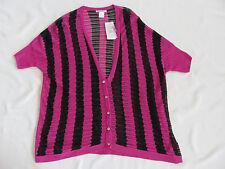 Alberto Makali Short Sleeve Long Cardigan Sweater Fushia/Black-Large-NWT $120