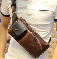 Men leather Chest Bag Shoulder Sling Hiking Crossbody Bicycle Backpack phone bag