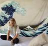 Traditional Japanese Ukiyoe Kanagawa Wave Tapestry Wall Hanging Zen Arts Decor