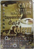 Kaffee Coffee Latte Blechschild ewiger Kalender Metall 30 cm