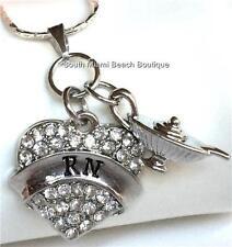 Silver Plated Nightingale Lamp Heart RN Necklace Nursing Graduation Gift Nurse