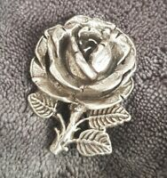 Vintage Signed MIRACLE Silver Tone Crafted English Rose Flower Brooch Pin Vtg