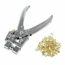 Leather Belt Rivet Hole Punch Plier With 100pcs Eyelet Hollow Press Grommets New