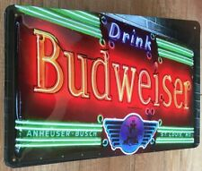 BUDWEISER BEER BIER BLECHSCHILD NEON-Optik USA , PRÄGUNG  20 x 30 cm