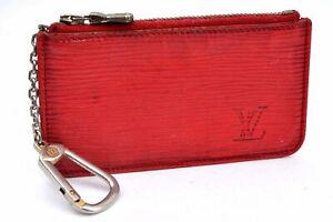 Auth Louis Vuitton Epi Pochette Cles Red Coin Case LV A1220