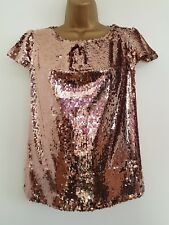NEW Debenh-ms 8-20 Rose Gold Sequin Embellished Top Blouse Evening Occasion