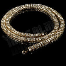 14k Gold 2 ROW Crystal Simulated Clear Diamond Iced Out Chain Hip Hop Necklace