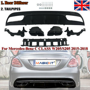 For Mercedes-Benz W205 14-20 Black Edition Rear Diffuser+Exhaust Tips C63 Style