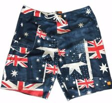Vintage Quicksilver Size 36 Board Shorts Embroidered Logo Australian Flag Theme