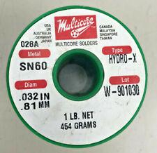 Multicore Solder Sn60 Hydro X 0032 Inch 081mm 1lb 454g