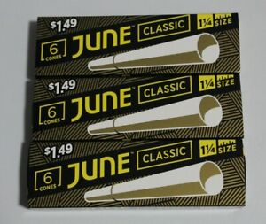 3X JUNE CLASSIC  ROLLING PAPER CONES 1 1/4 SIZE 6 PER PACK 18 TOTAL PAPERS