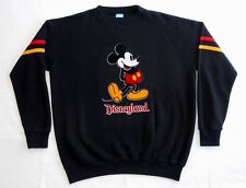 VINTAGE SWEATSHIRT 80's Mickey Mouse DISNEY Striped Sleeve FLOCK PRINT Black XXL