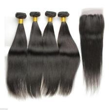 4 Bundles Straight Hair Weft with Lace Closure Virgin Peruvian Human Hair Weave