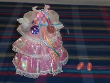 "Vintage 1986 Mattel Lady Lovelylocks Lovely Locks 8"" Doll Dress Gown Pink Shoes"