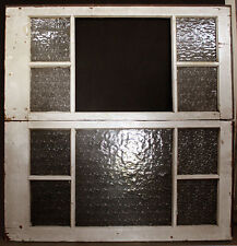 "Pair 48""x25"" Antique Vintage Wood Wooden Sash Double Window Textured Glass Lites"