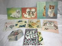 Vintage greeting cards lot of 11: 1960's variety dogs cats more