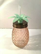 Pineapple Shaped Glass 16 oz. Mason Jar with Palm Tree Straw Lid