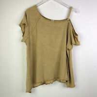 Free People We The Free Womens Top Sz L Large Short Sleeve Blouse Cold-Shoulder