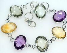 Sterling 925 SILVER Multi Gemstone Bracelet Genuine Birthstones Amethyst Citrine