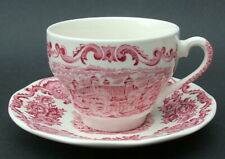 Enoch Wedgwood 1970's Royal Homes of Britain Red 200ml Tea Cups & Saucers - VGC