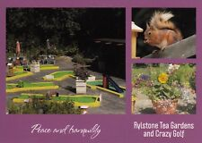 BLANK POSTCARD RYLSTONE TEA GARDENS & CRAZY GOLF, ISLE OF WIGHT + RED SQUIRREL
