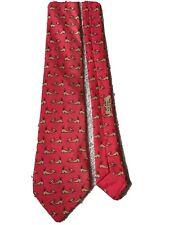 Hermes Paris Silk Red Gold Whale Tie Model 7294 TA
