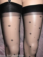 15D SHEER BLACK STOCKINGS WITH DAISY DOT & SPOT PATTERN - GORGEOUS! NEW SEALED