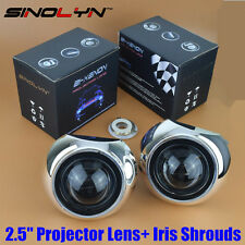"Mini HID 2.5"" Bi-Xenon Projector Lens Kit w/ Iris Shrouds Car Headlight Retrofit"