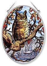 """AMIA STAINED GLASS SUNCATCHER 5.5"""" X 7"""" OVAL MIDNIGHT OWL  #7157"""