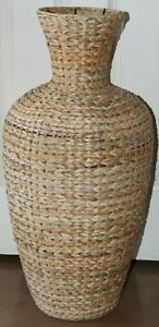 "X-Large Wicker Rattan Basket Floor Vase Umbrella Holder/Stand Coastal 30"" X 15"""