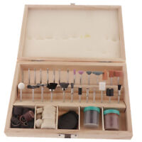 Electric Grinder Tool Accessory Kit Jewelry Grinding Polishing Set Wood Box