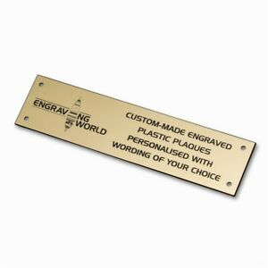 152mm x 51mm Personalised Engraving Engraved Plastic Plaque Sign (Gold/Black)