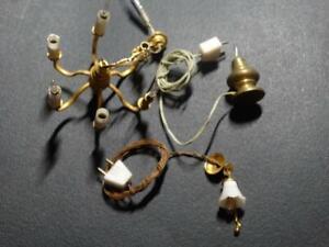 Vintage Dollhouse Lights - Chandelier, Hanging and Brass Desk Lamp