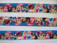 "Disney Princesses (Blue) Grosgrain Ribbon 7/8"" Wide 2 YARDS"
