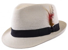 RETRO SUMMER STRAW HAT CREAM TRILBY HAT