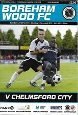 Football Programme>BOREHAM WOOD v CHELMSFORD CITY Aug 2012