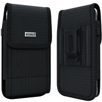Bomea Rugged Nylon iPhone 8 7 6s 6 Holster Black with Belt Clip Case Phone Pouch