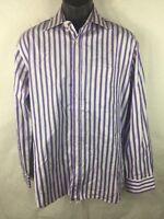 Paul Smith London Mens Dress Shirt 15 1/2 39 Purple Stripe Made In Italy. (P5)
