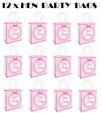 12 x HEN PARTY BAG Printed Paper Bag WEDDING Gift Bag Hen Night Bags (C51 396)