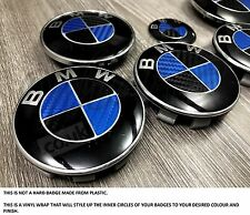 BLACK & BLUE in fibra di carbonio BMW Badge Emblema Overlay HOOD TRUNK CERCHIONI adatto a tutte le BMW