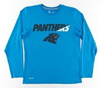 Nike Dri-Fit Mens Medium NFL Training Long Sleeve T-Shirt Carolina Panthers Blue