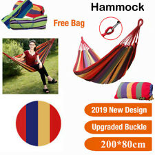 Portable Cotton Rainbow Strip Hammock Travel Beach Camping Swing Bed Chair